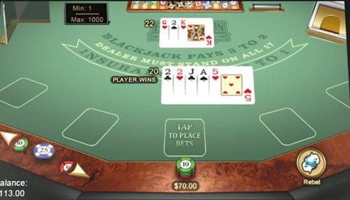 Online Blackjack menu item